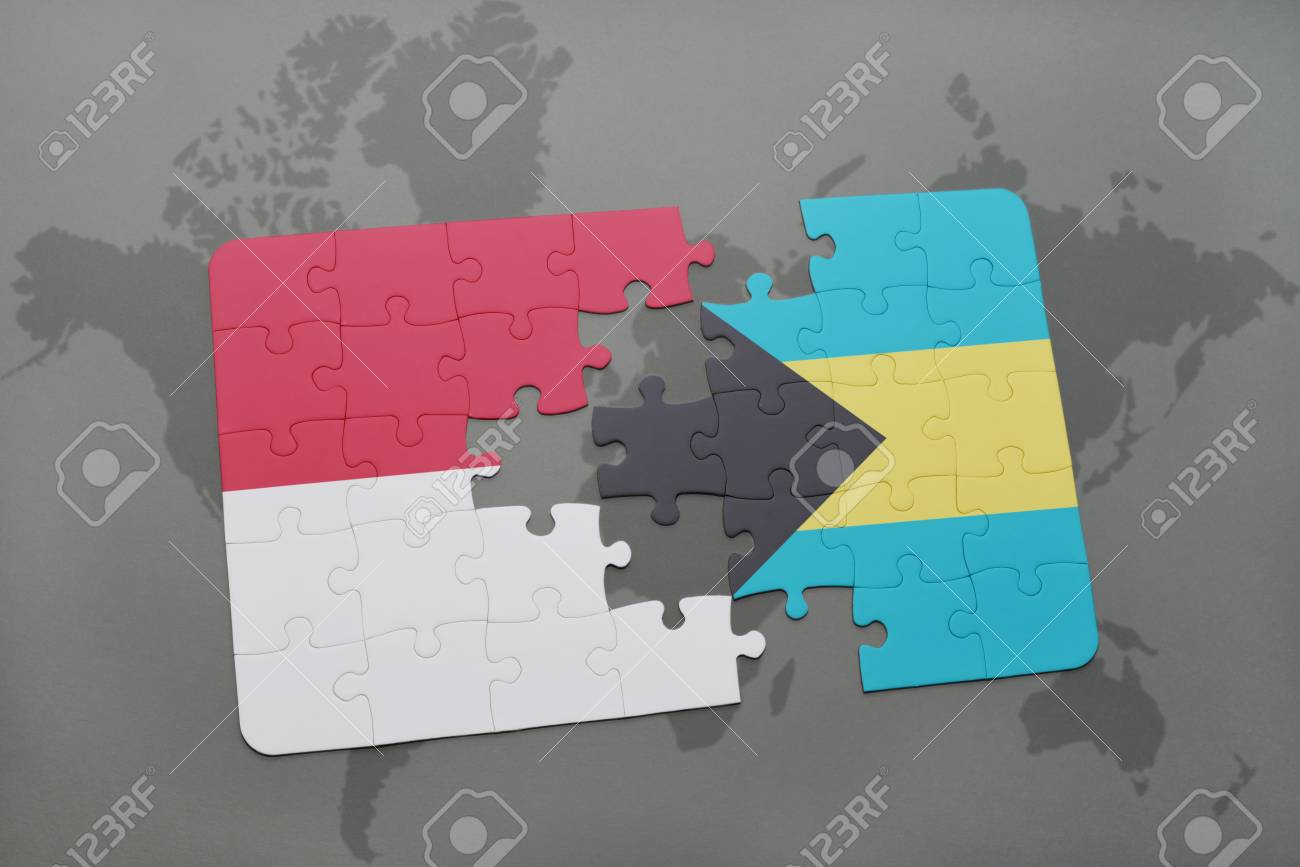 Puzzle With The National Flag Of Indonesia And Bahamas On A World