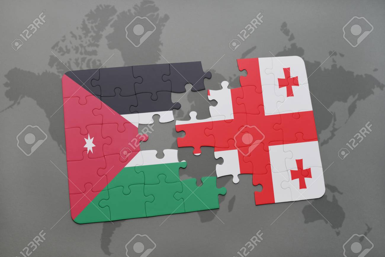 Puzzle With The National Flag Of Jordan And Georgia On A World ...