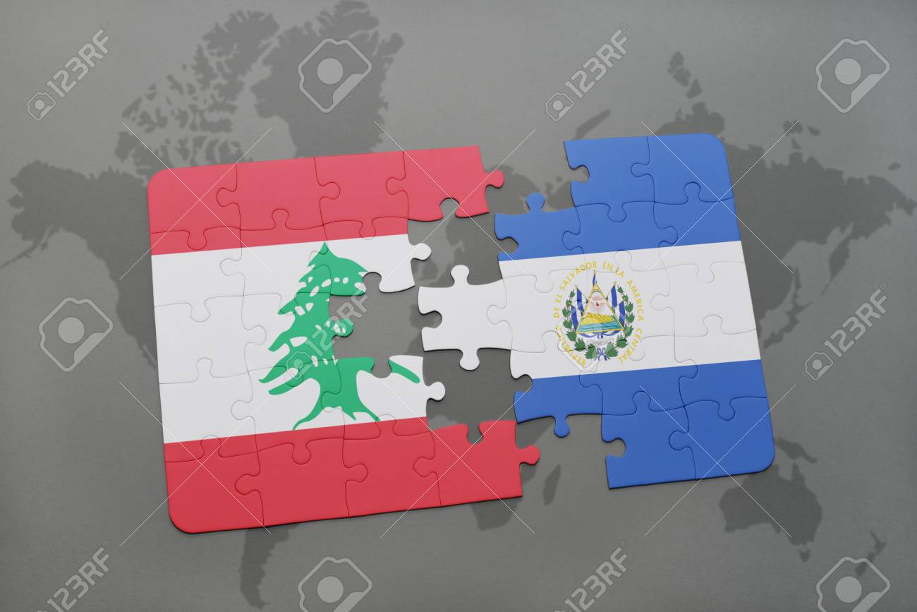 Puzzle with the national flag of lebanon and el salvador on a world puzzle with the national flag of lebanon and el salvador on a world map background gumiabroncs Image collections