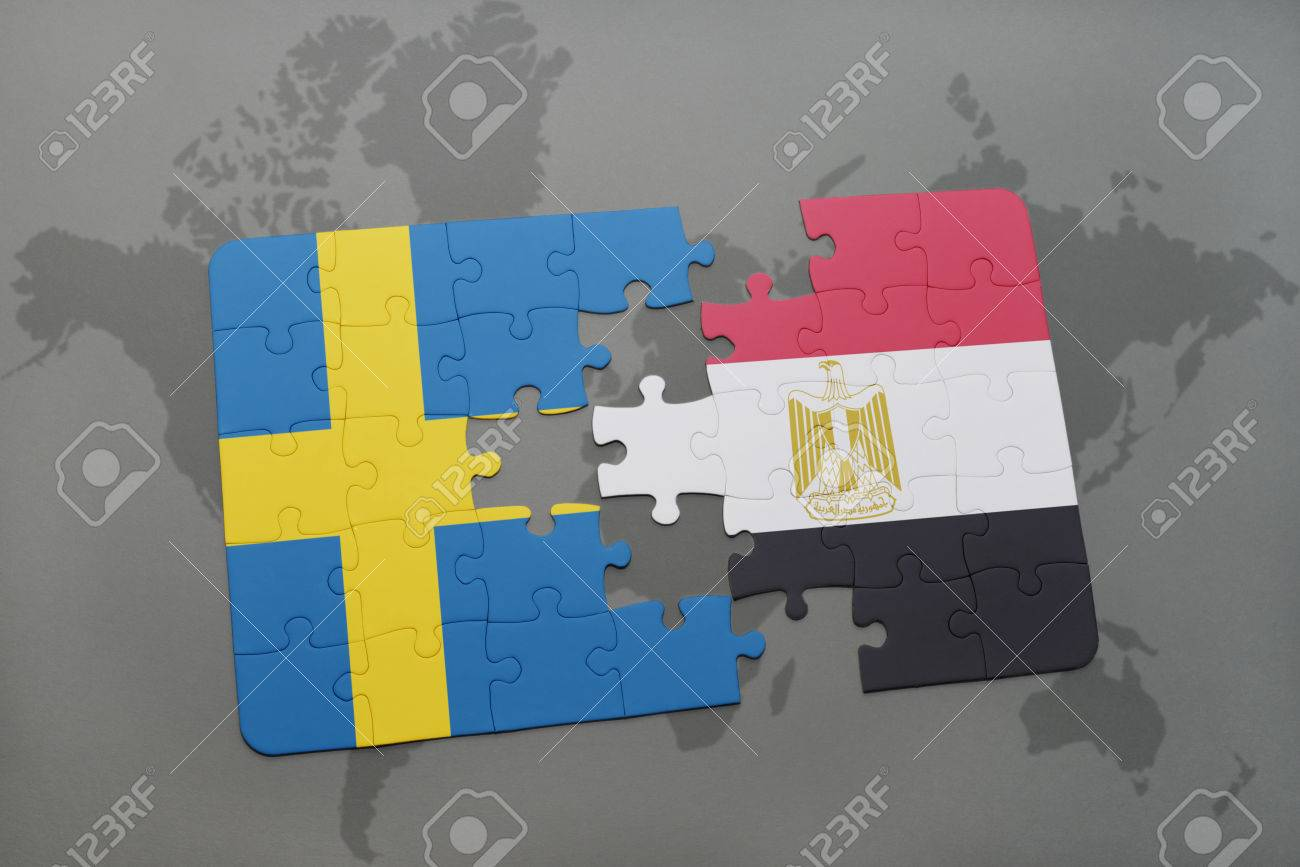 Puzzle with the national flag of sweden and egypt on a world puzzle with the national flag of sweden and egypt on a world map background 3d gumiabroncs Images