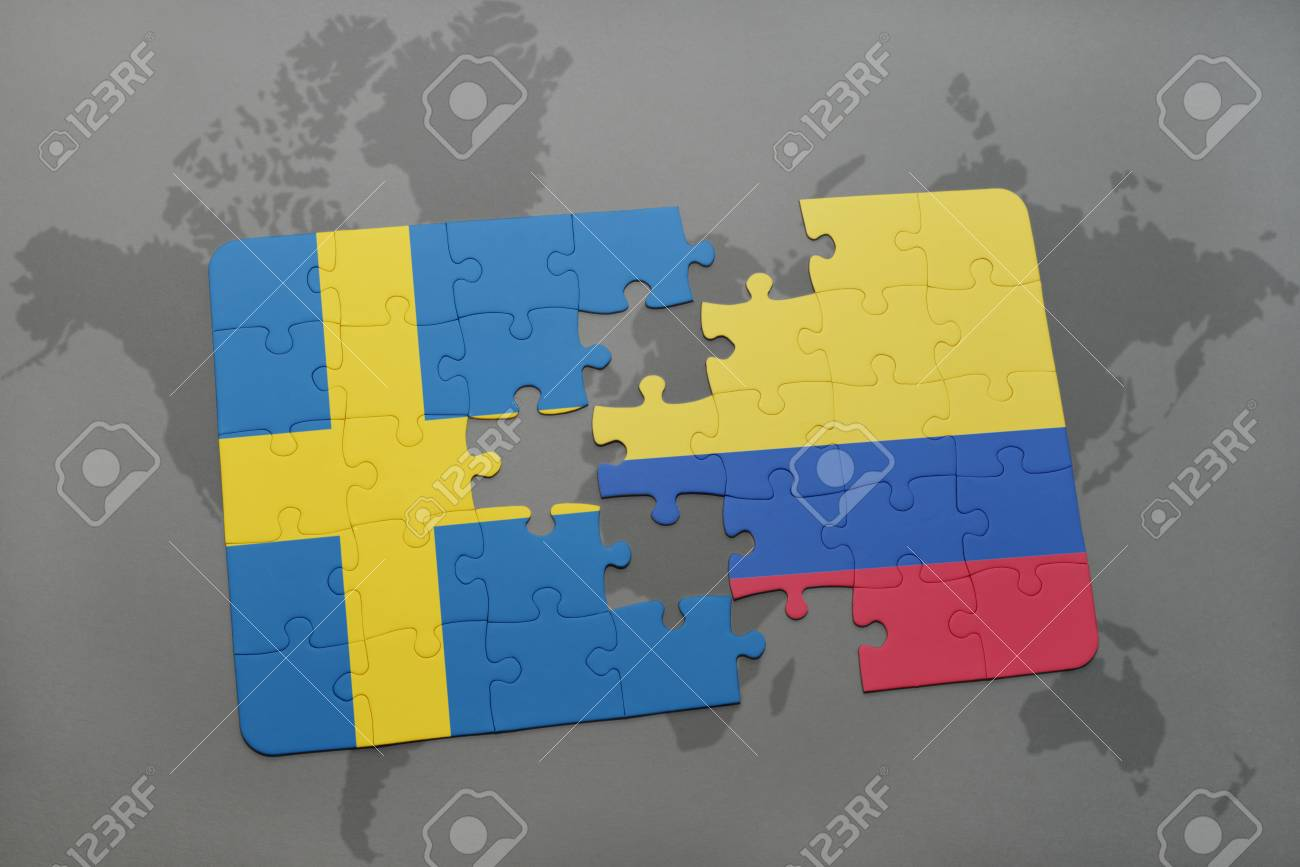 Puzzle With The National Flag Of Sweden And Colombia On A World ...