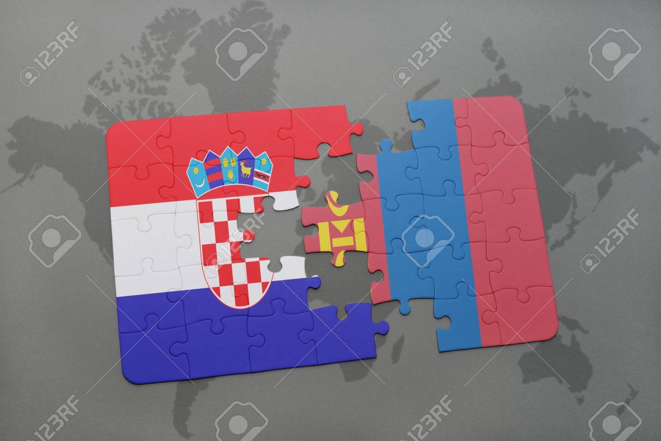Puzzle with the national flag of croatia and mongolia on a world map puzzle with the national flag of croatia and mongolia on a world map background 3d gumiabroncs