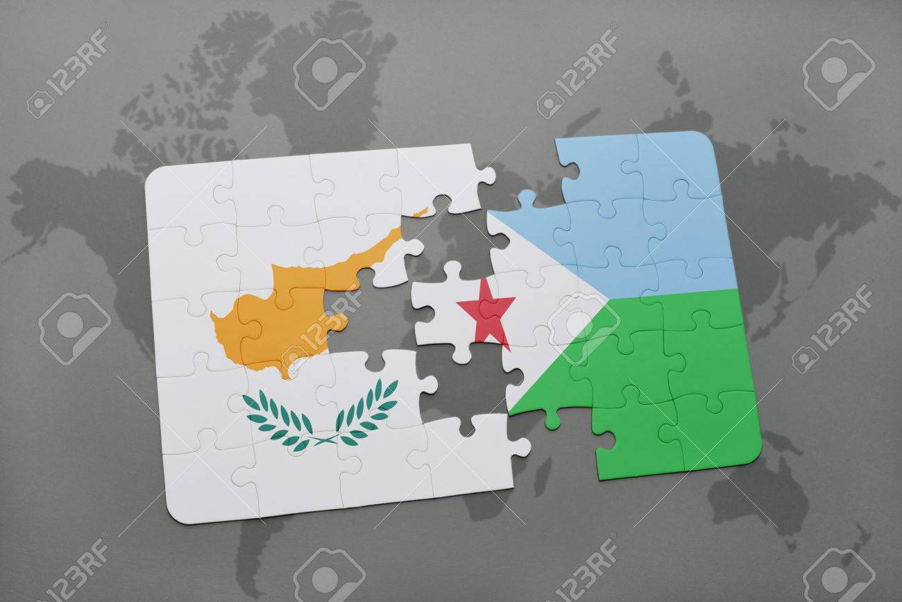 Puzzle with the national flag of cyprus and djibouti on a world map puzzle with the national flag of cyprus and djibouti on a world map background 3d gumiabroncs Image collections