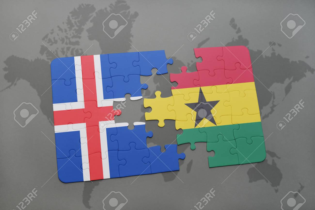 Puzzle with the national flag of iceland and ghana on a world map puzzle with the national flag of iceland and ghana on a world map background 3d gumiabroncs Image collections