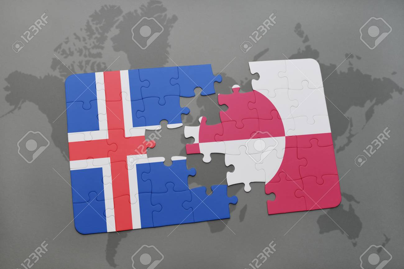 Iceland And Greenland World Map.Puzzle With The National Flag Of Iceland And Greenland On A World