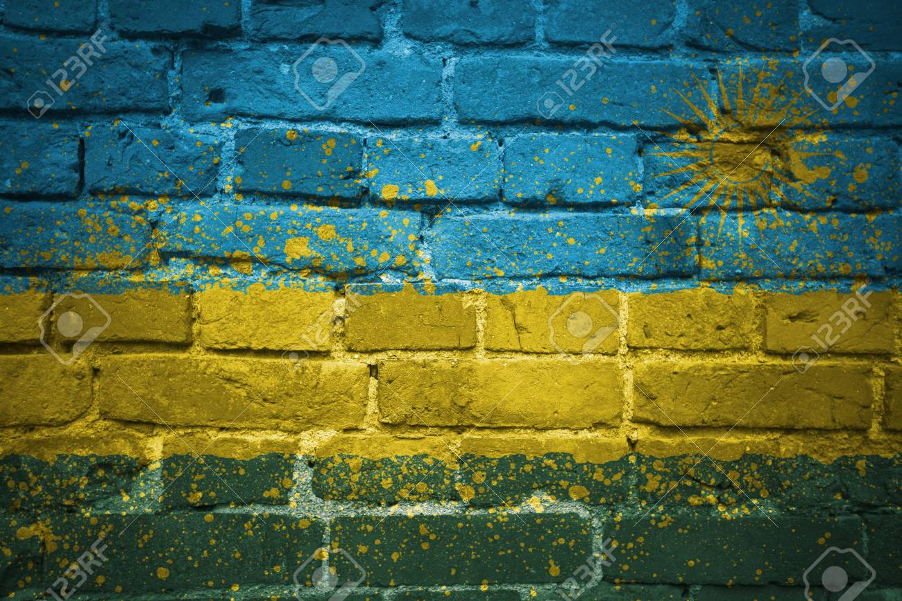 Colorful Painted National Flag Of Rwanda On A Old Brick Wall Stock ...