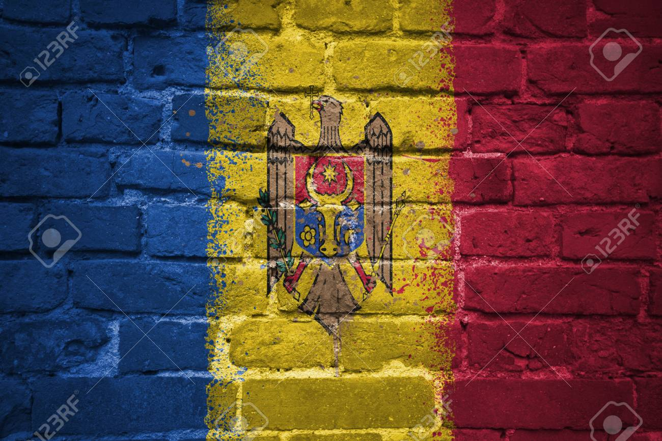Colorful Painted National Flag Of Moldova On A Old Brick Wall Stock ...