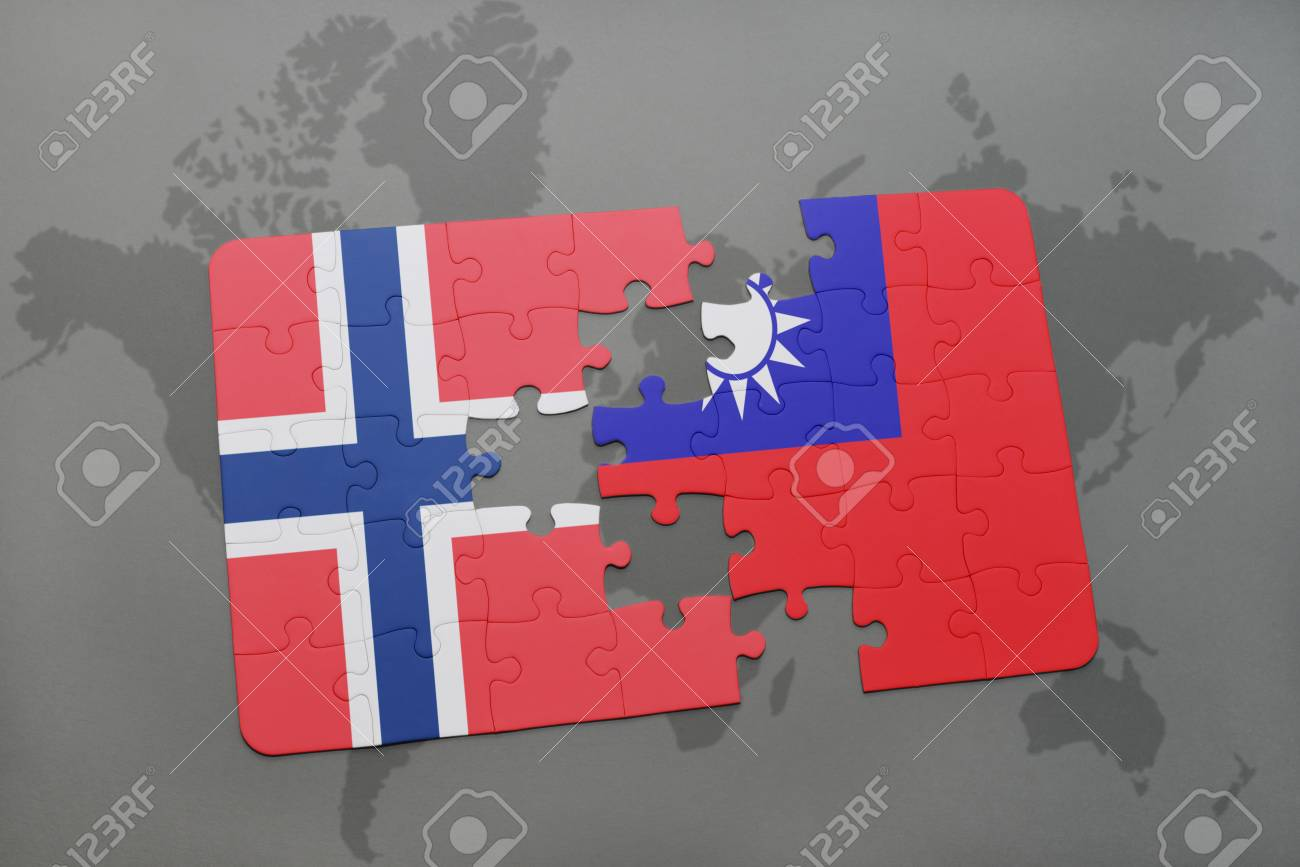 Puzzle with the national flag of norway and taiwan on a world illustration puzzle with the national flag of norway and taiwan on a world map background 3d illustration gumiabroncs Gallery