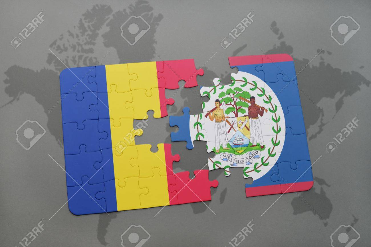 Puzzle with the national flag of romania and belize on a world puzzle with the national flag of romania and belize on a world map background 3d gumiabroncs