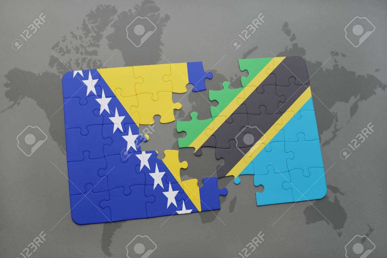 Puzzle With The National Flag Of Bosnia And Herzegovina And Tanzania