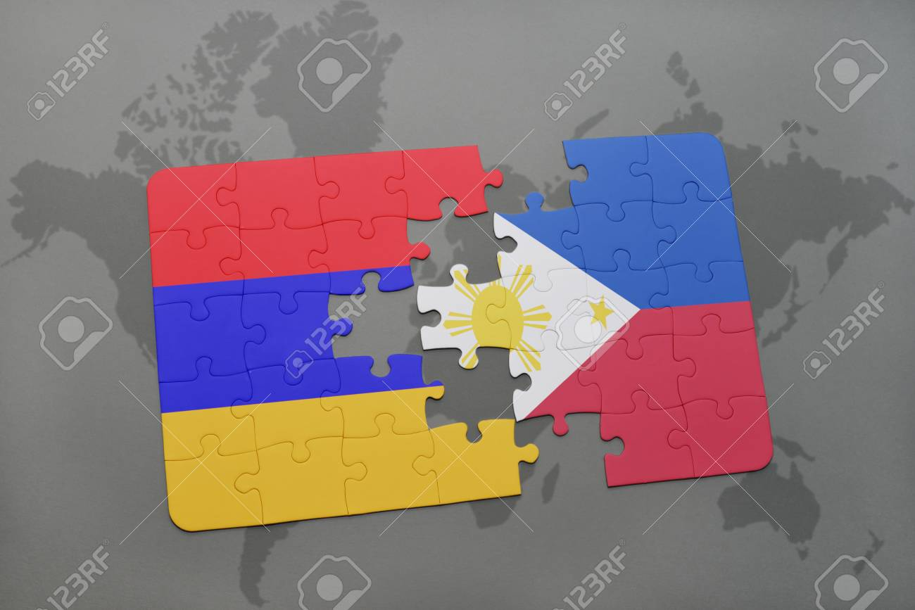 Puzzle With The National Flag Of Armenia And Philippines On A ...