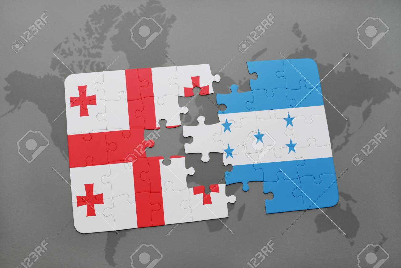 Puzzle With The National Flag Of Georgia And Honduras On A World