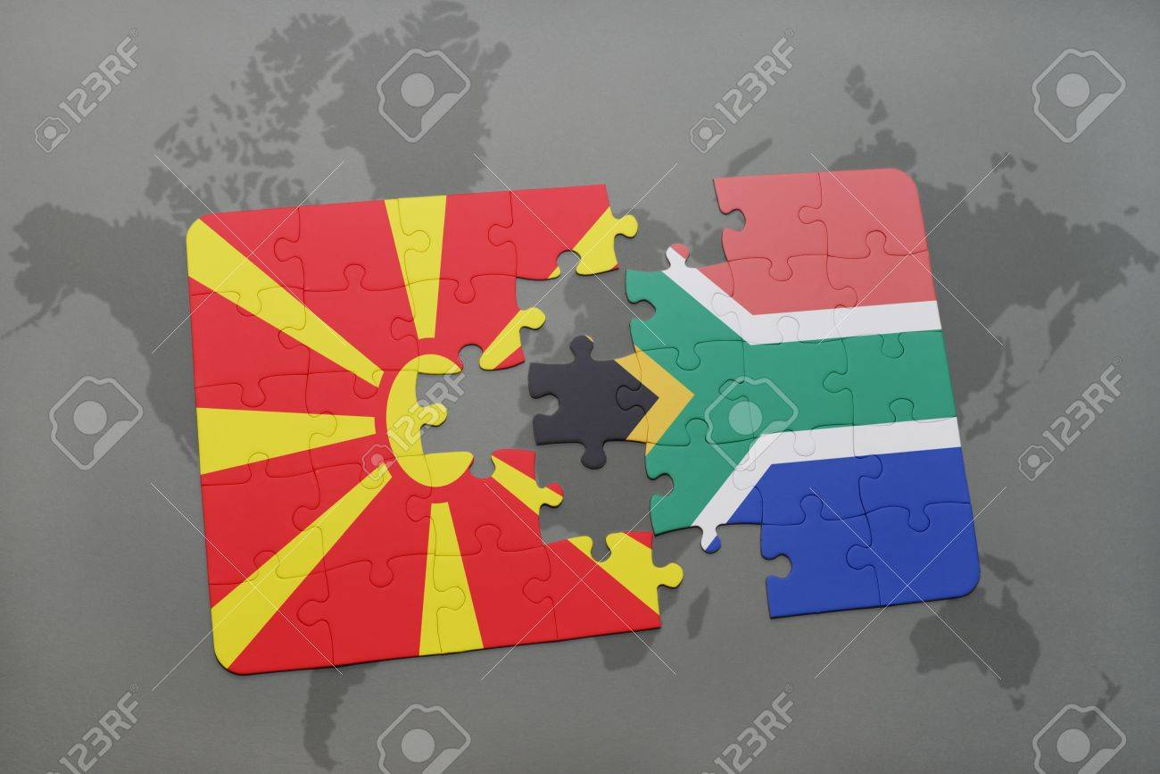 Puzzle with the national flag of macedonia and south africa on illustration puzzle with the national flag of macedonia and south africa on a world map background 3d illustration gumiabroncs Image collections
