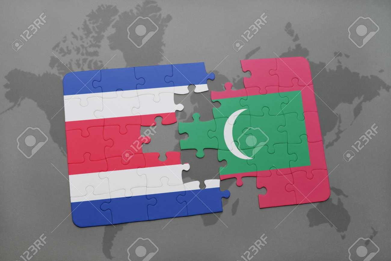 Puzzle With The National Flag Of Costa Rica And Maldives On A ...