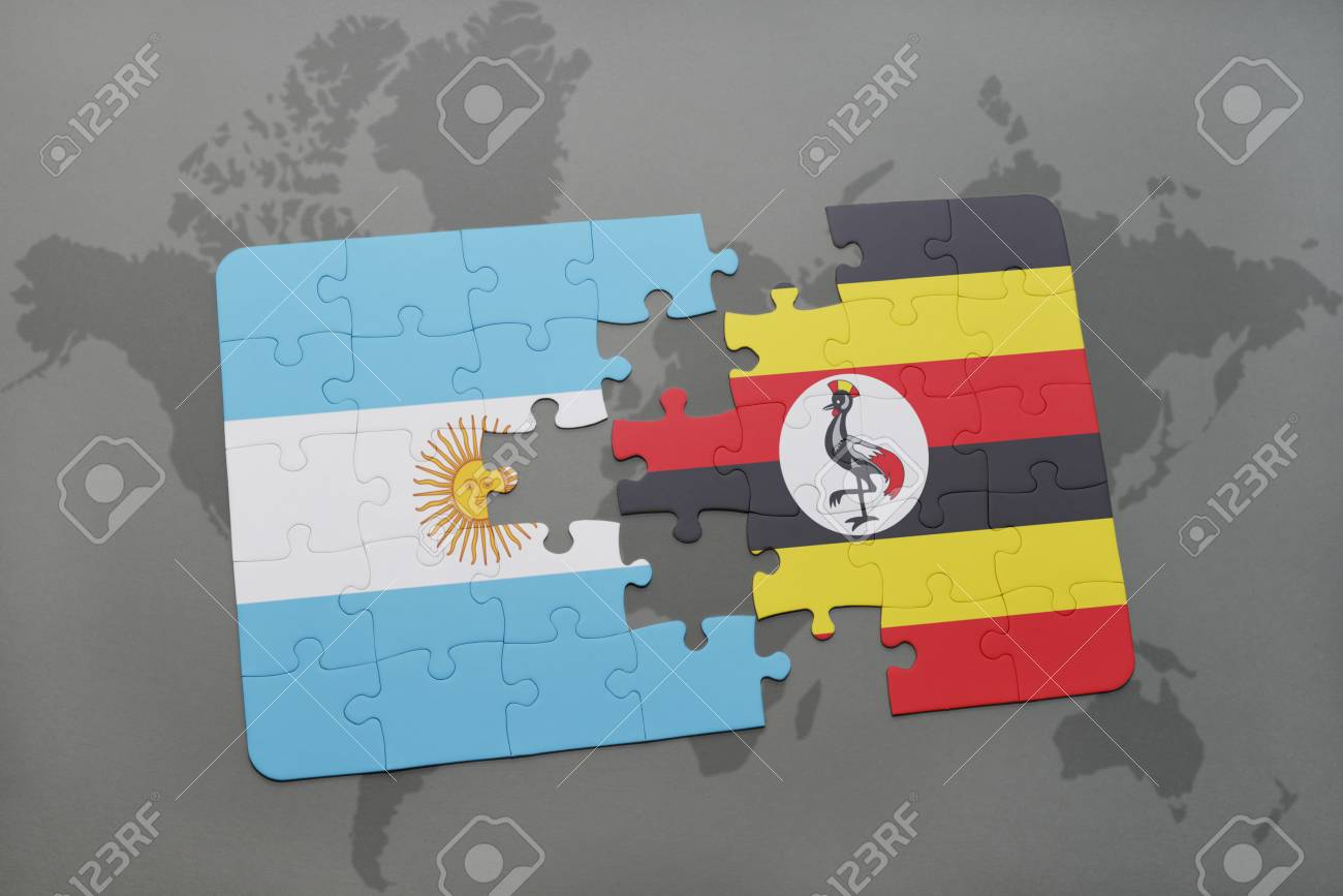 Puzzle With The National Flag Of Argentina And Uganda On A World ...