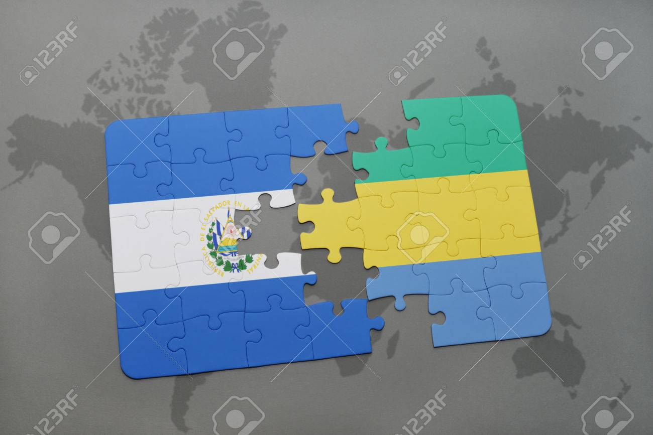 Puzzle With The National Flag Of El Salvador And Gabon On A World
