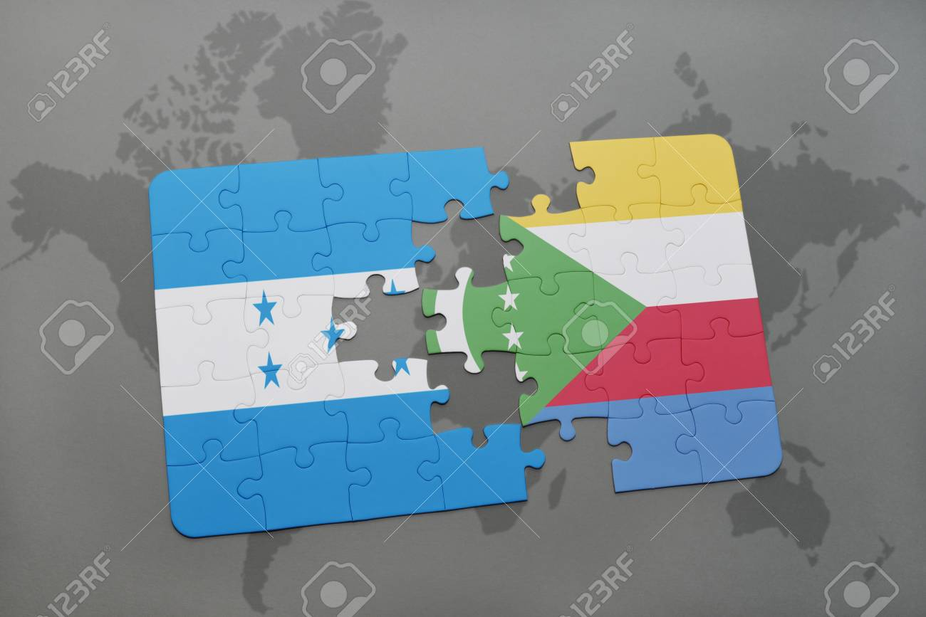 Puzzle with the national flag of honduras and comoros on a world illustration puzzle with the national flag of honduras and comoros on a world map background 3d illustration gumiabroncs Gallery