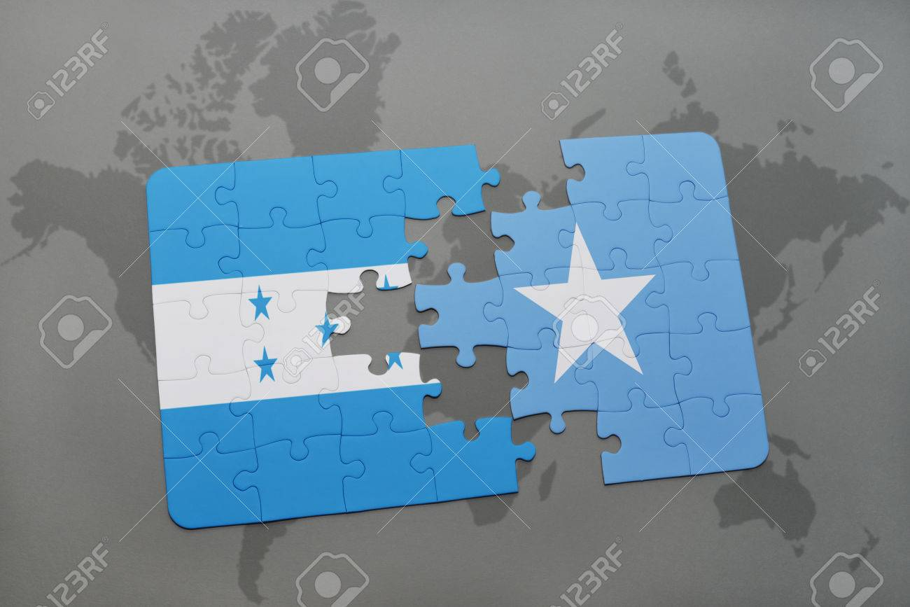 Puzzle with the national flag of honduras and somalia on a world puzzle with the national flag of honduras and somalia on a world map background 3d gumiabroncs Choice Image