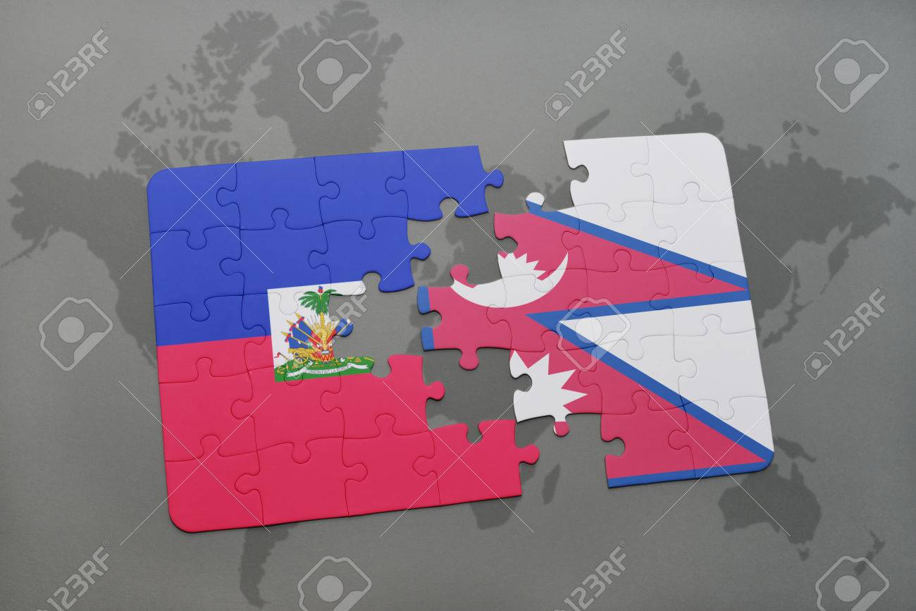 Puzzle with the national flag of haiti and nepal on a world map puzzle with the national flag of haiti and nepal on a world map background 3d gumiabroncs Image collections