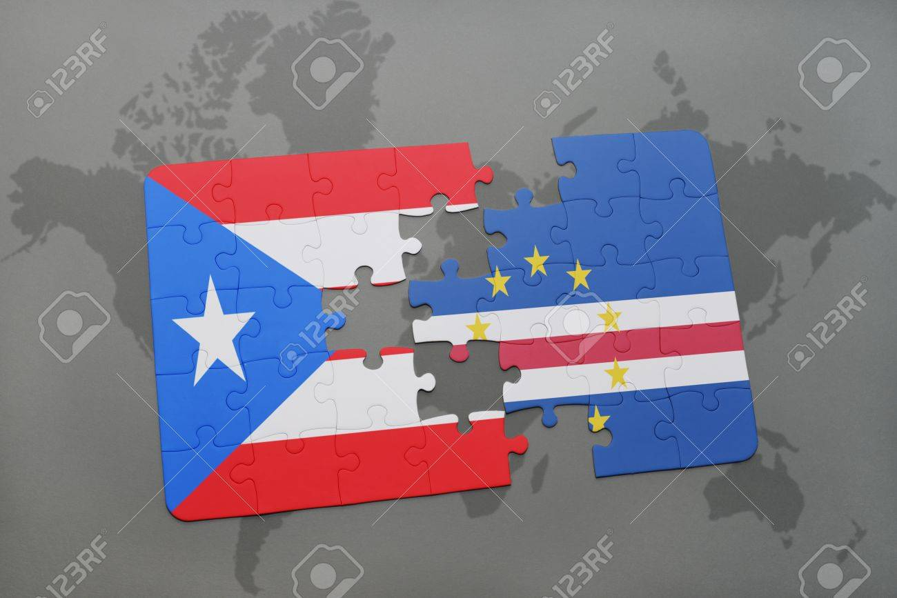 Puzzle With The National Flag Of Puerto Rico And Cape Verde On