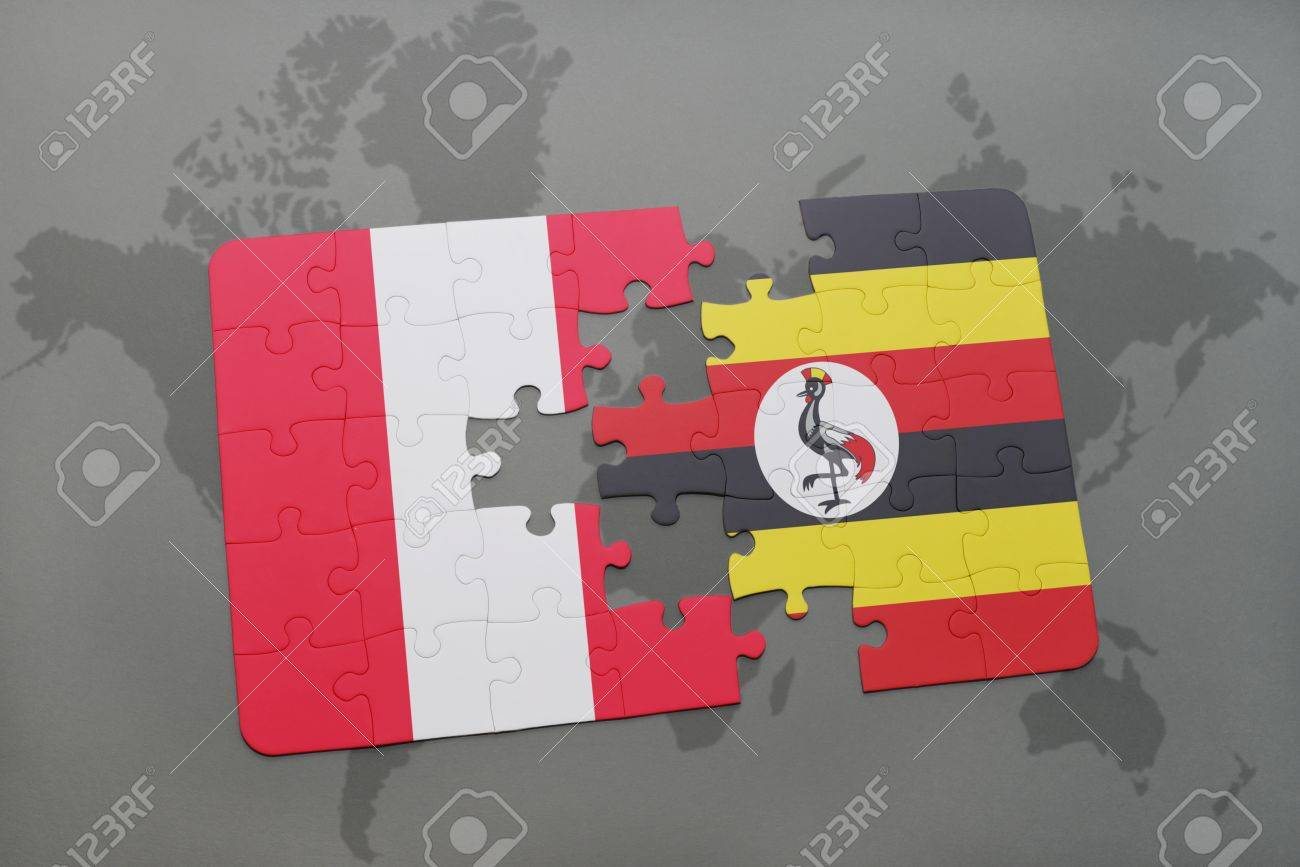 Puzzle with the national flag of peru and uganda on a world map illustration puzzle with the national flag of peru and uganda on a world map background 3d illustration gumiabroncs