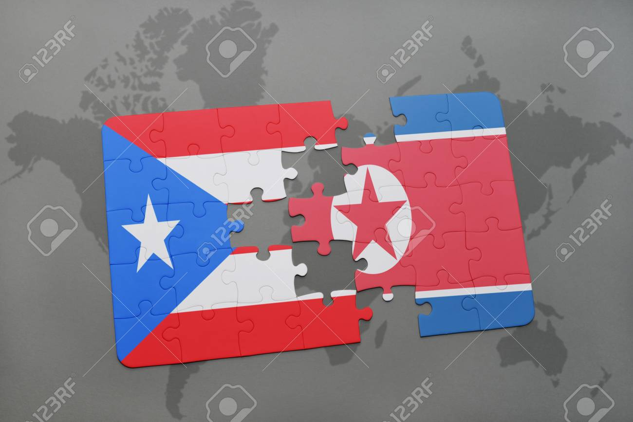 Puzzle With The National Flag Of Puerto Rico And North Korea.. Stock ...