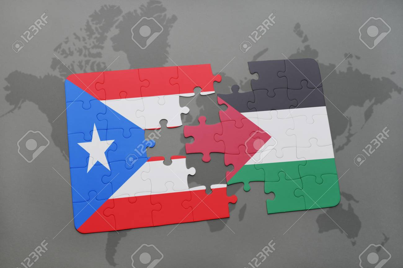 Puzzle With The National Flag Of Puerto Rico And Palestine On ...