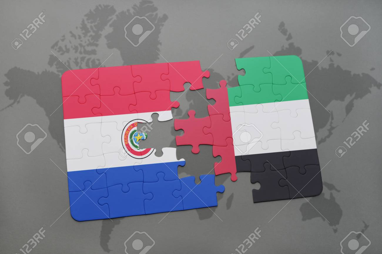 Puzzle With The National Flag Of Paraguay And United Arab Emirates ...