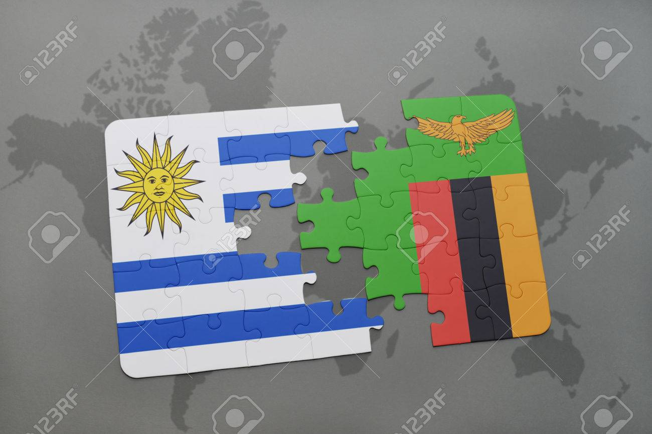 Puzzle with the national flag of uruguay and zambia on a world map puzzle with the national flag of uruguay and zambia on a world map background 3d gumiabroncs Gallery