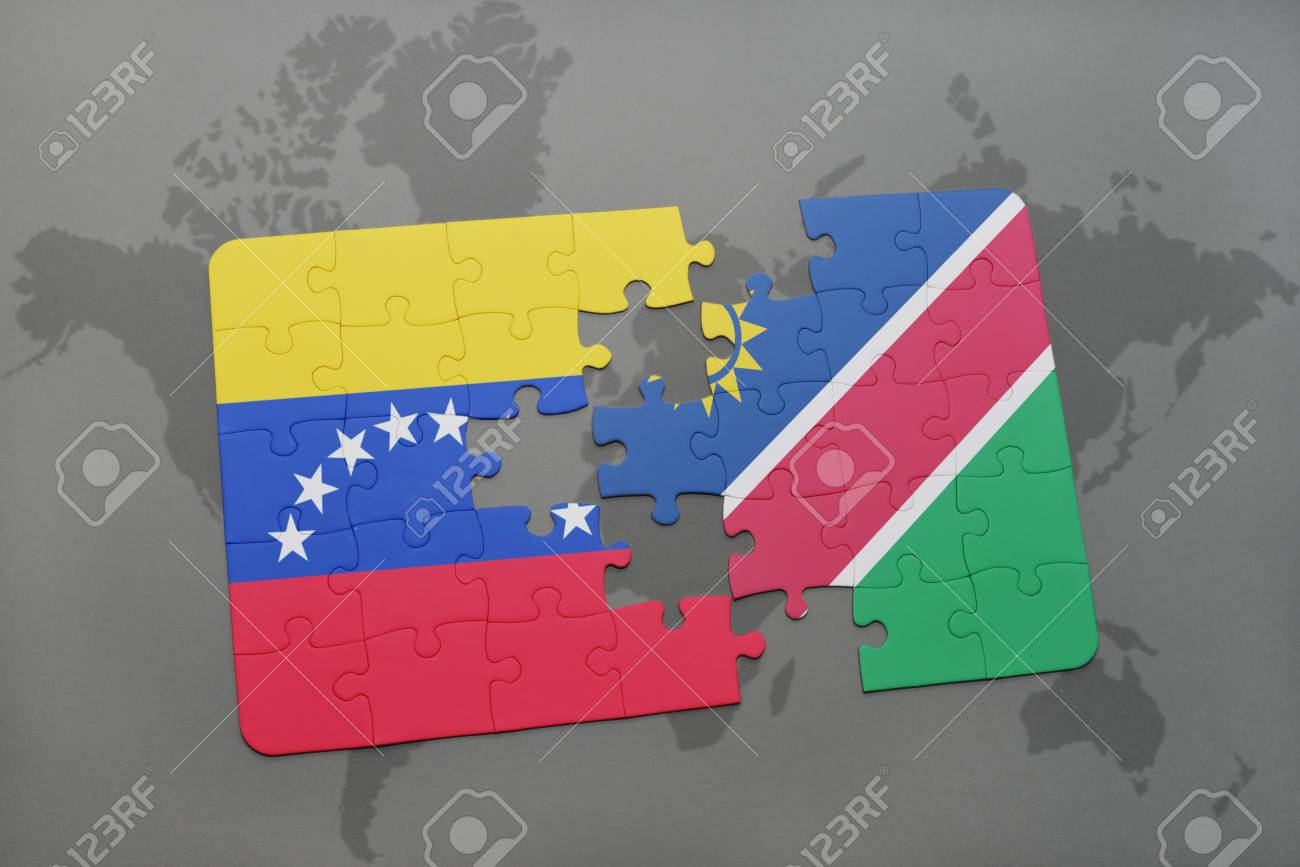 Puzzle with the national flag of venezuela and namibia on a world illustration puzzle with the national flag of venezuela and namibia on a world map background 3d illustration gumiabroncs