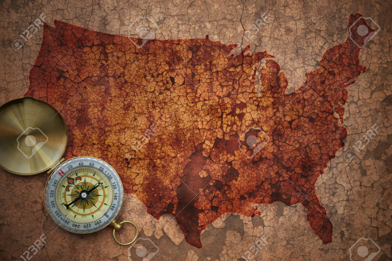 Map Of United States Of America On A Old Vintage Crack Paper.. Stock ...