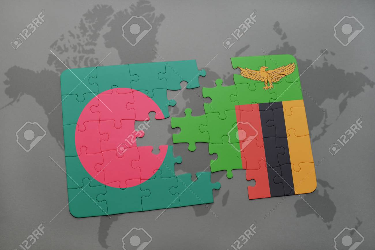 Puzzle With The National Flag Of Bangladesh And Zambia On A World ...