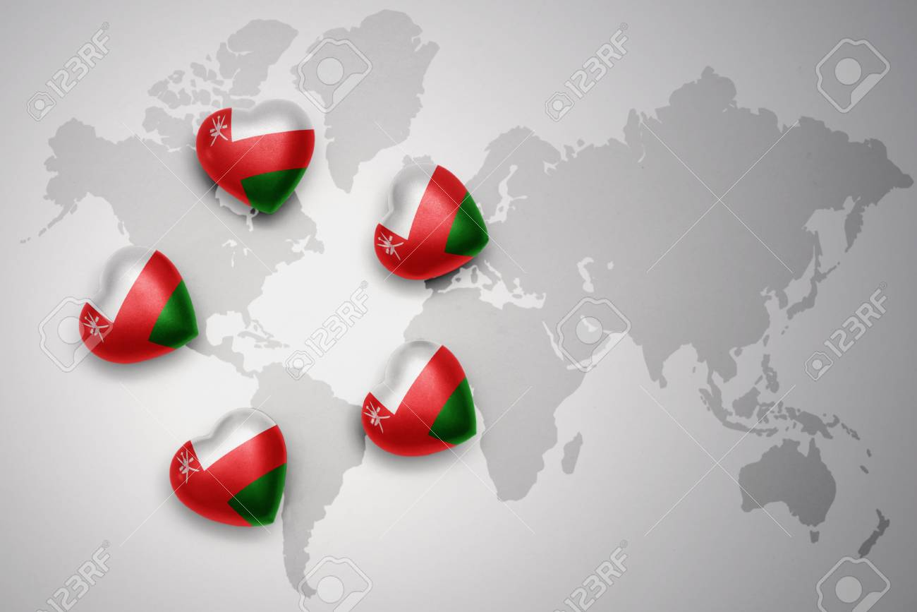 Five Hearts With National Flag Of Oman On A World Map Background - Oman in the world map