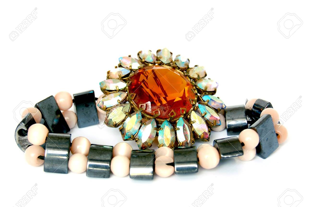 Antique brooch and bracelet on white background Stock Photo - 4773661