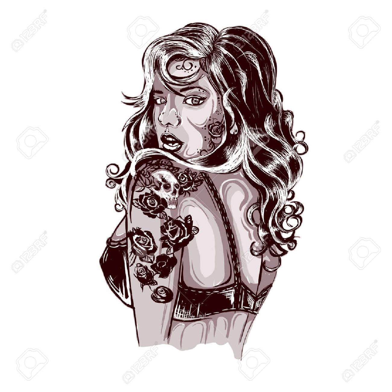 Tattoo pin up girls designs - Pin Up Girl Tattoo Old School Tattoos Swallow Tattoo Design Shop Tattooed Lady Picture Illustration