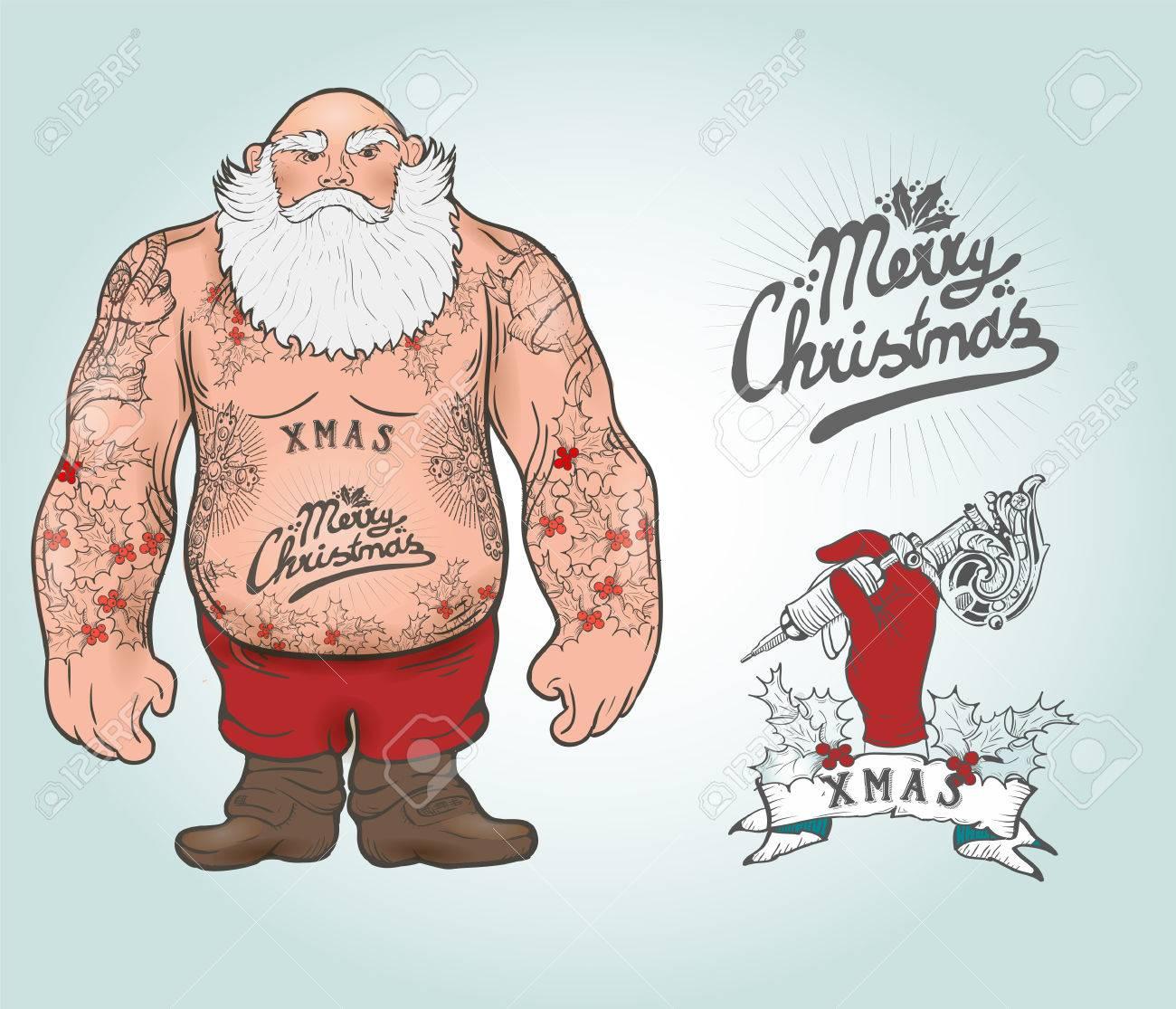 Funny cartoon illustration of mighty santa claus chest with funny cartoon illustration of mighty santa claus chest with christmas tattoos with greeting tattoo salon kristyandbryce Choice Image