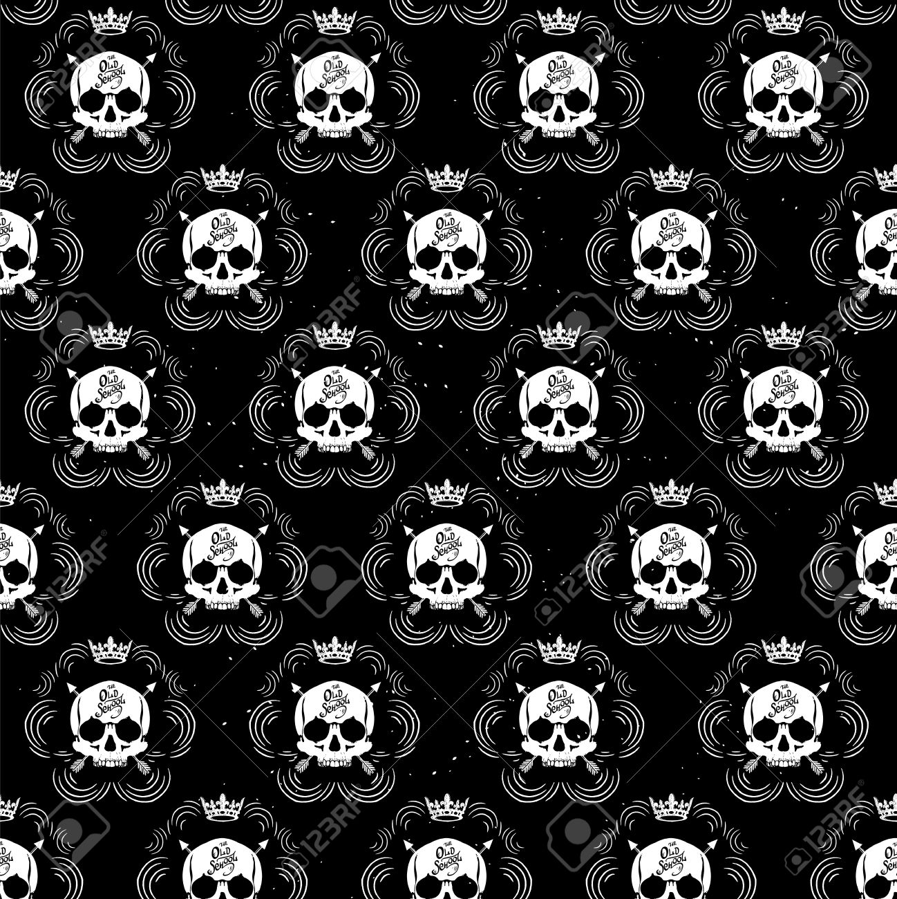Pattern pirate skull wallpaper for tattoo parlor Stock Vector - 47197985
