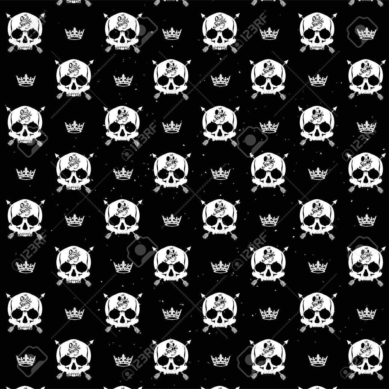 タトゥー パーラーのパターン海賊スカル壁紙のイラスト素材 ベクタ