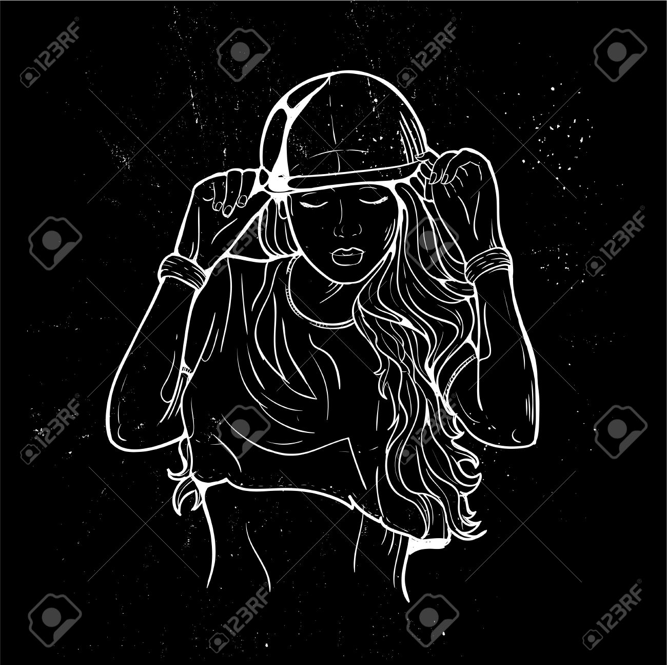 Rap music girl  Pretty Young Urban Rap Girl  Lady Vector artwork,