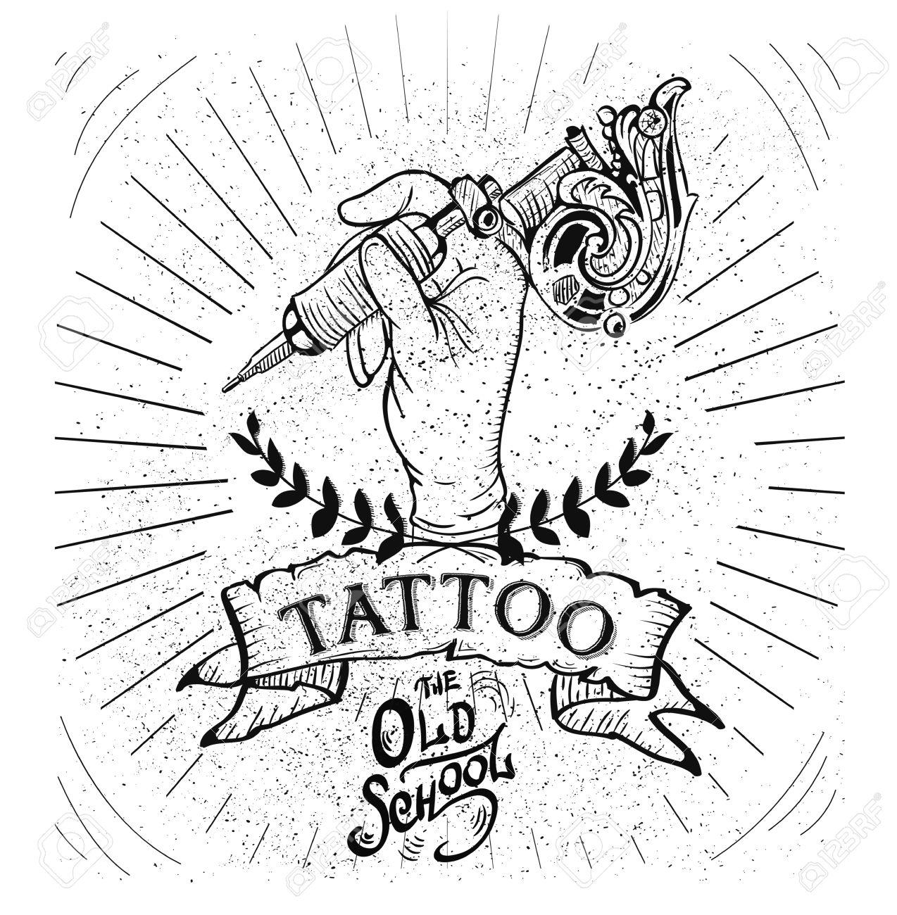 Vector tattoo studio logo templates on dark background. Cool retro styled vector emblems. - 57592186