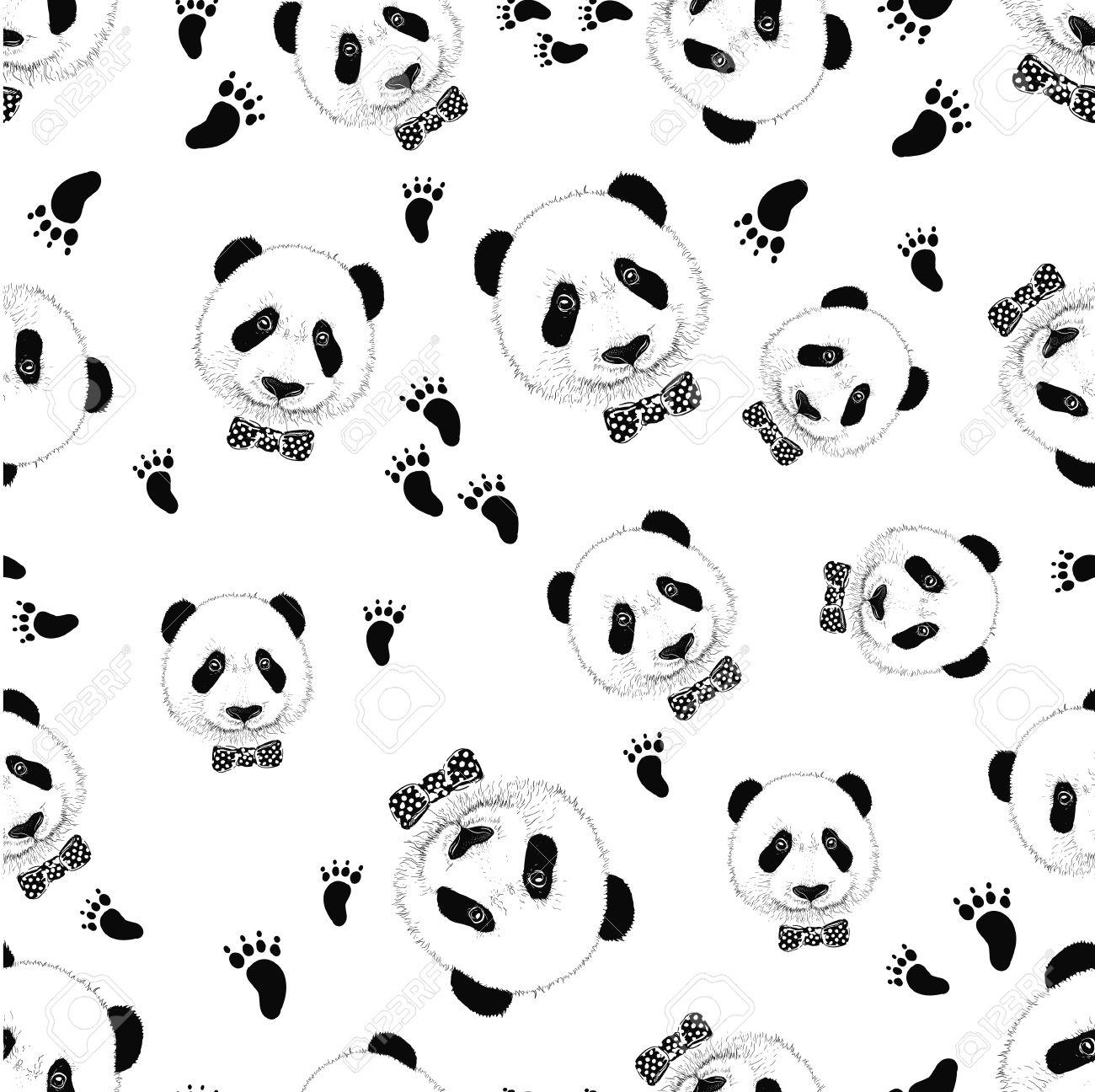 Cute panda face. Seamless wallpaper. Panda head silhouette Stock Vector - 57595833