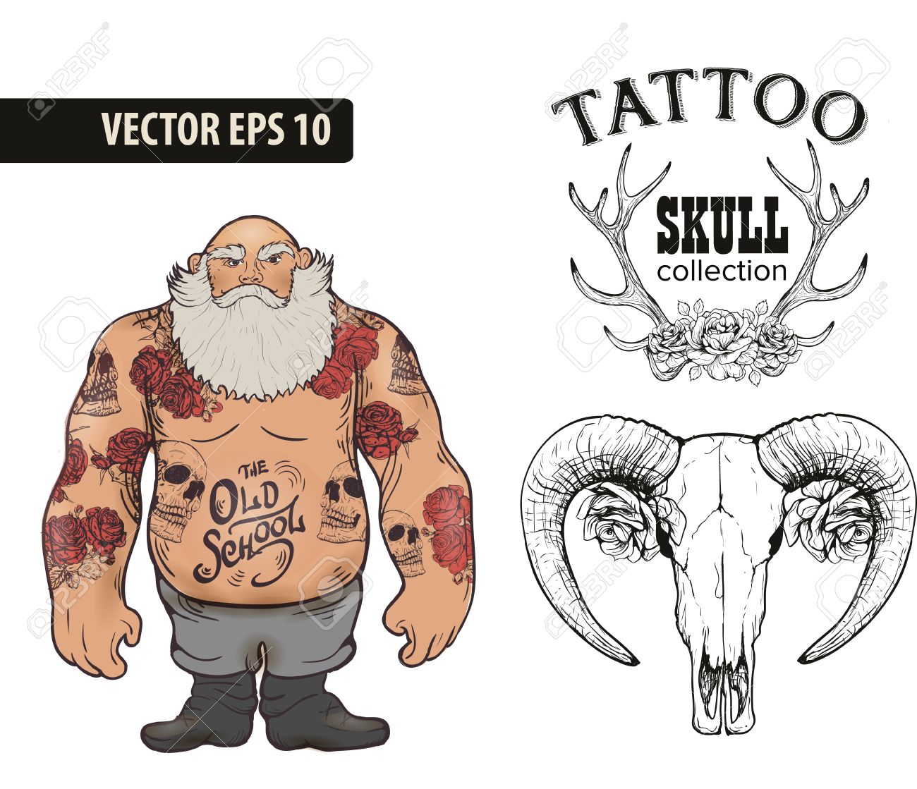 Set of Cool vector clip,art on the theme of Brutal Men. Tattoo..
