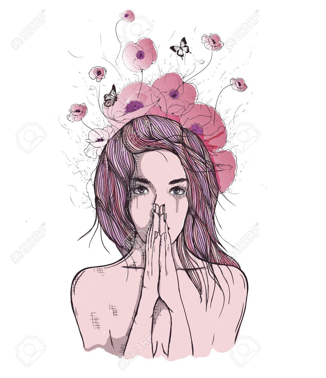 Vector Art Dessin Portrait Triste Et Déprimé Fille Penser à Quelque Chose Les Expressions Faciales Les Gens émotions Romantique Et Tendre Jeune