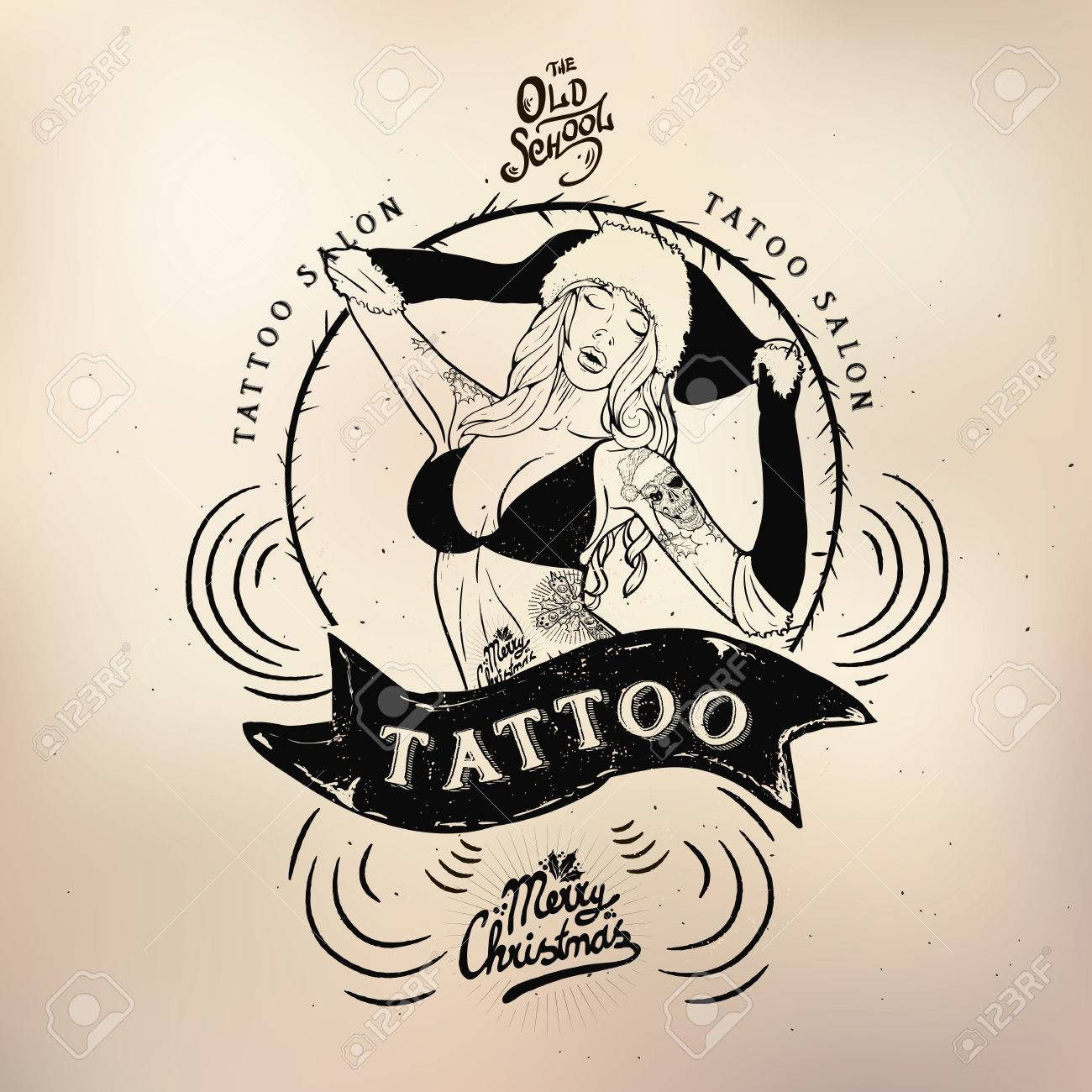 vector tattoo studio logo templates on dark background cool