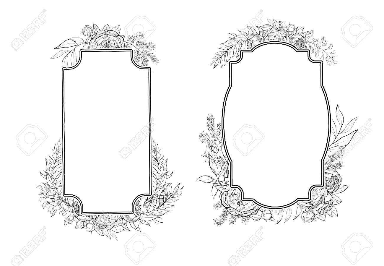 Vintage Frames Of Peonies In Botanical Style Royalty Free Cliparts ...