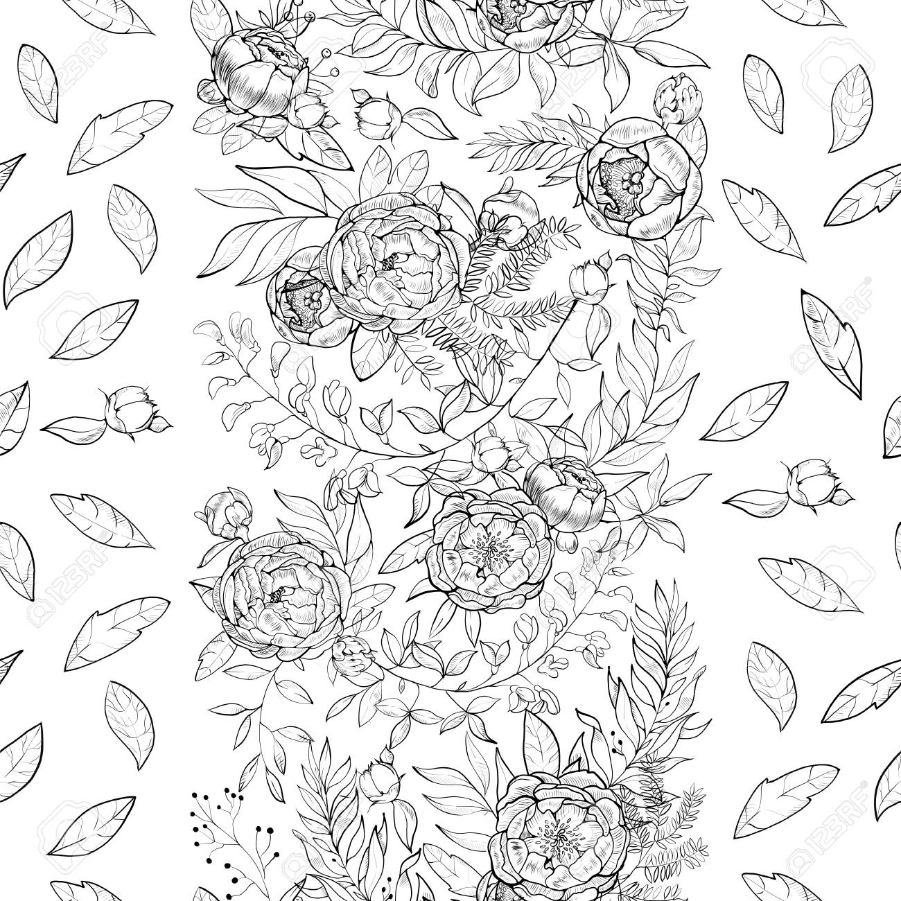 Vintage Background Engraving Seamless Floral Pattern With Bouquets