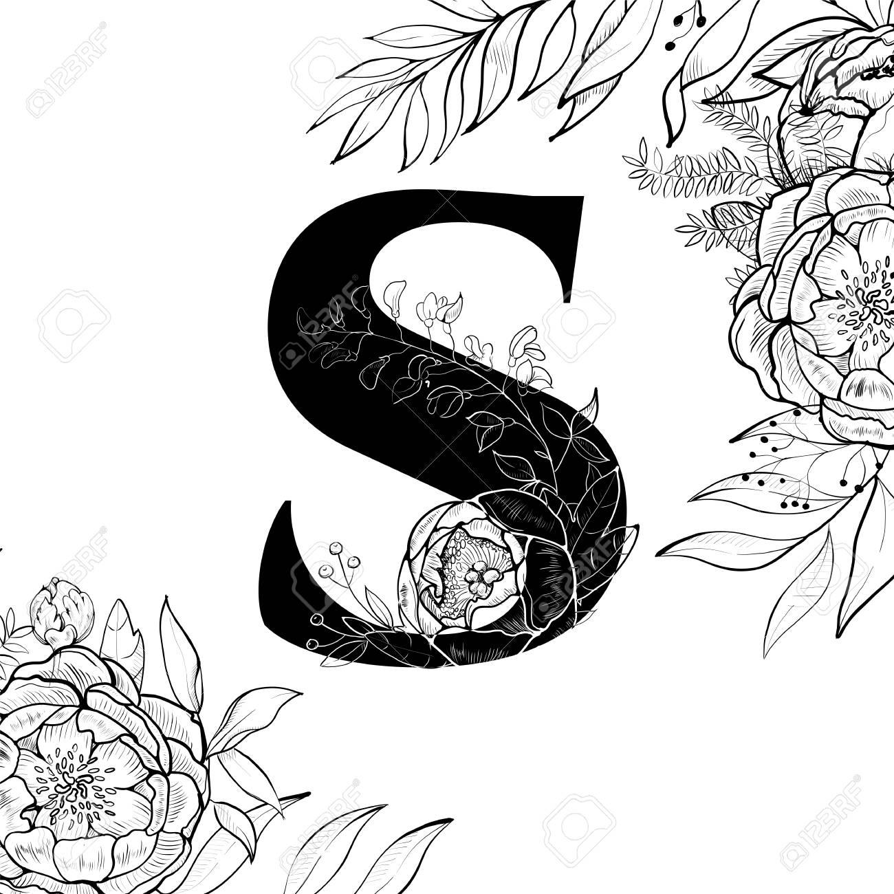 fancy floral alphabet letter s stock vector 100228196