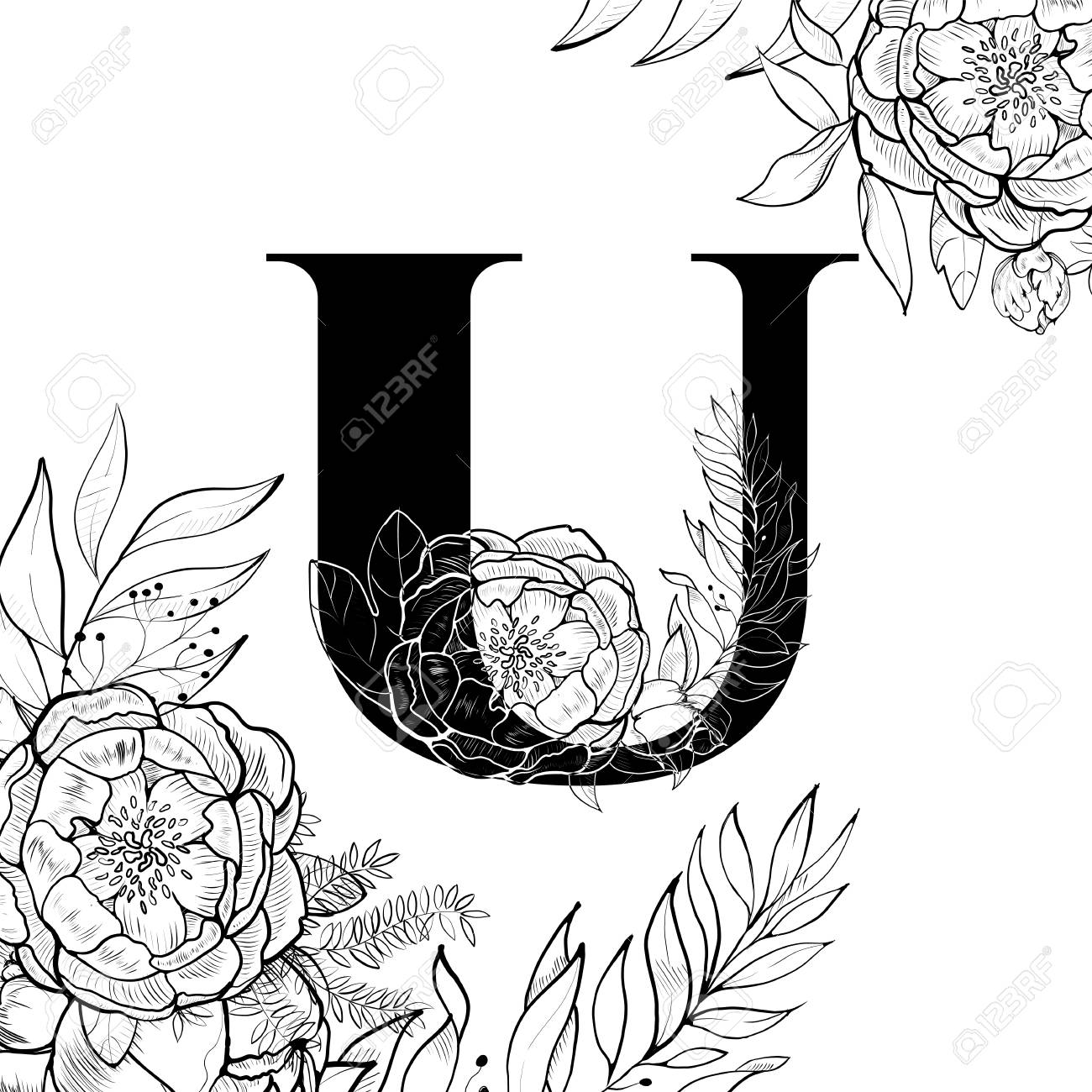 Fancy Floral Alphabet Letter U Royalty Free Cliparts, Vectors, And