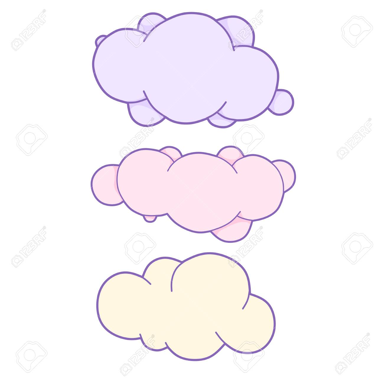 Unicorn Cloud Set With Space For Text Cute Clouds Vector