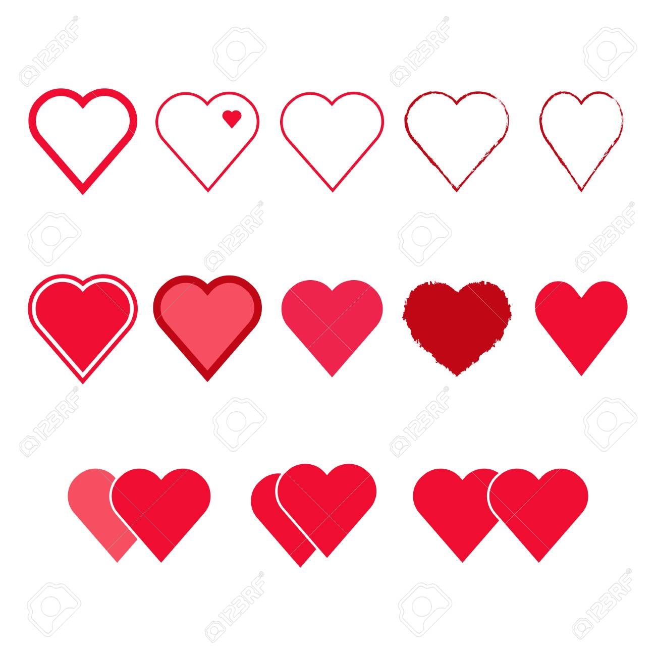 Vector Set Of Heart Shapes Isolated Symbols Royalty Free Cliparts